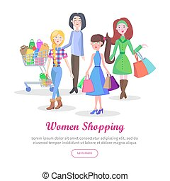Women Shopping Conceptual Flat Vector Web Banner