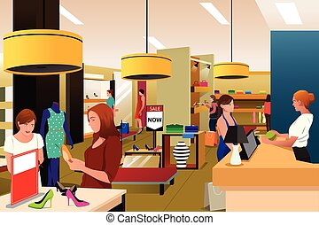 Women Shopping For Clothing - A vector illustration of women...