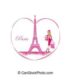 Women Shopping in Paris Card