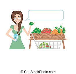 Women shopping vegetables and fruits