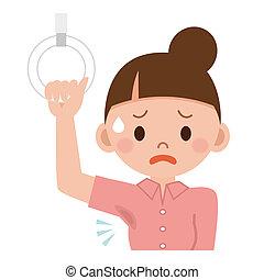Women side sweat worried about