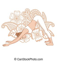 Women silhouette. Adho mukha svanasana. Downward dog. Vector...