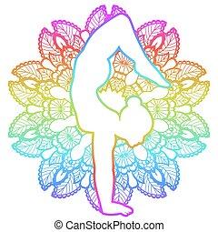 Women silhouette. Arm Balance Scorpion Yoga Pose. Bhuja...