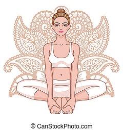 Women silhouette. Bound Angle yoga pose. Baddha Konasana...