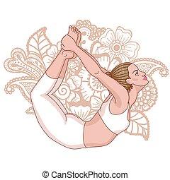 Women silhouette. Bow yoga pose. Dhanurasana Vector...