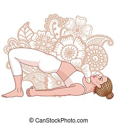Women silhouette. Bridge Yoga Pose. Setu Bandha Sarvangasana...