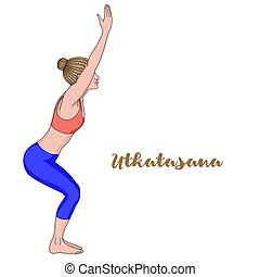 Women silhouette. Chair yoga pose. Utkatasana.