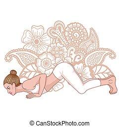 Women silhouette. Eight-Limbed Yoga Pose Ashtangasana Vector...