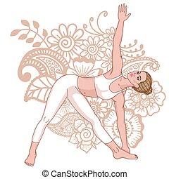 Women silhouette. Extended Triangle Yoga Pose. Utthita...