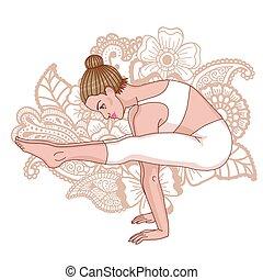 Women silhouette. Firefly yoga pose. Tittibhasana Vector...