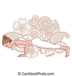 Women silhouette. Four-Limbed Staff Pose. Low Plank yoga...