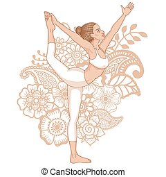 Women silhouette. Lord of the dance yoga pose. Natarajasana