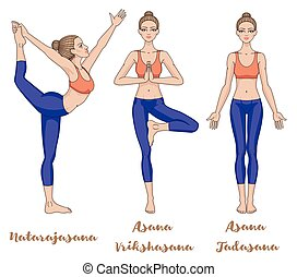 yoga and dance positions illustration of yoga and dance