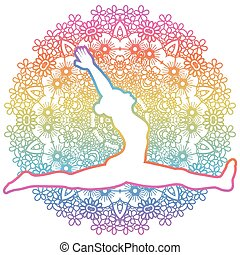 Women silhouette. Monkey yoga pose. Hanumanasana - Women...