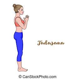 Women silhouette. Mountain yoga pose. Tadasana