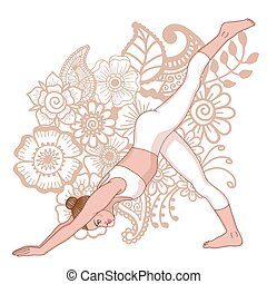 Women silhouette. One legged downward facing dog Yoga Pose. ...