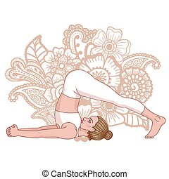 Women silhouette. Plow Yoga Pose. Halasana Vector...