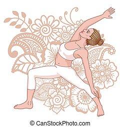 Women silhouette. Reserved warrior yoga pose. Viparita Virabhadrasana