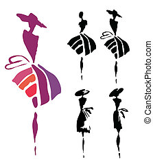 silhouettes of women in dresses and hats on a white background
