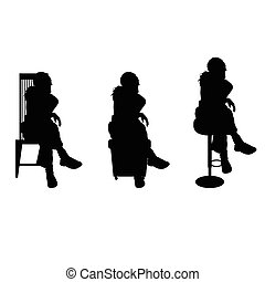 women silhouette sitting on chair
