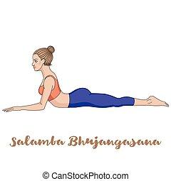 Women silhouette. Sphinx yoga Pose.