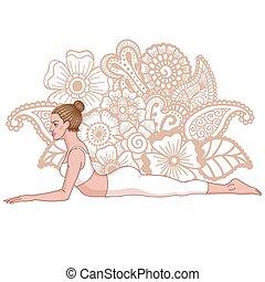 Women silhouette. Sphinx yoga Pose. Salamba Bhujangasana....