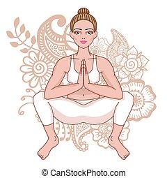 Women silhouette. Squat Yoga Pose. Malasana Vector...