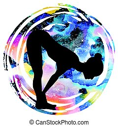 Women silhouette on galaxy astral background. Standing half forward bend yoga pose. Ardha uttanasana Vector illustration.