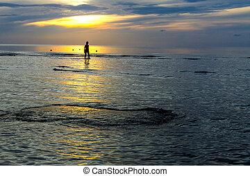 Women silhouette sunrise