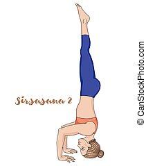 Women silhouette. Tripod Headstand yoga pose. Sirsasana 2