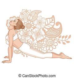Women silhouette. Upward dog facing yoga pose. Urdhva mukha...