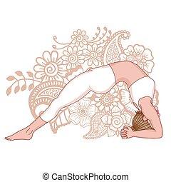 Women silhouette. Upward Facing Two-Foot Staff Yoga Pose. Dwi Pada Viparita Dandasana Vector illustration.