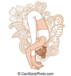 Women silhouette. Uttanasana, forward fold yoga pose. Vector...