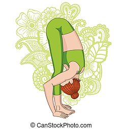 Women silhouette. Uttanasana, forward fold yoga pose.
