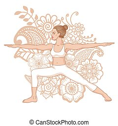 Women silhouette. Warrior 2 yoga pose. Virabhadrasana 2