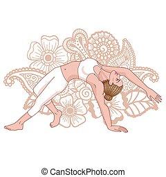 Women silhouette. Wild Thing Yoga Pose. Camatkarasana