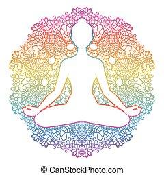 Women silhouette. Yoga lotus pose. Padmasana.