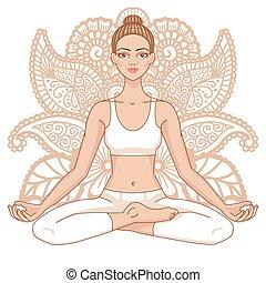 Women silhouette. Yoga lotus pose. Padmasana. - Women...