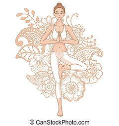 Women silhouette on paisley mehndi ormanent background.. Yoga tree pose. Vector illustration
