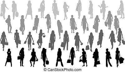 Women silhouettes - bag ,vector work