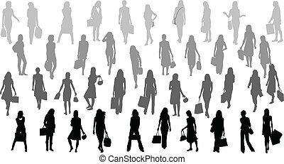 Women silhouettes - bag ,vector work
