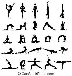 Women silhouettes. Collection of yoga poses. Asana set....
