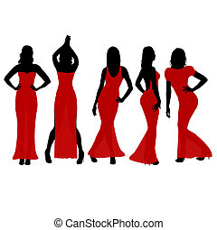 Women silhouettes dancing in red dresses