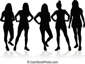 Women silhouettes on a white background.