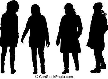 Women silhouettes. Vector works .