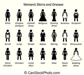 Women skirts and dresses.
