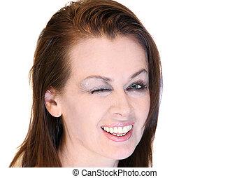 Women smiling winking
