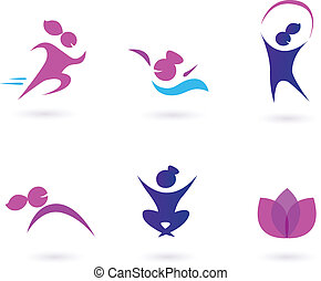 Women, sport and wellness icons - Set of girl in motion and ...