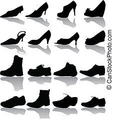 women), stivali, (man, vettore