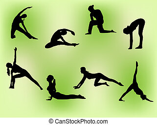 Vector silhouettes of several women doing stretching exercises.